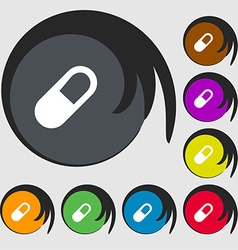 Pill icon sign symbols on eight colored buttons vector
