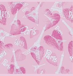 Pink seamless background eiffel tower vector