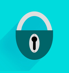 robust dark green padlock on a blue background vector image