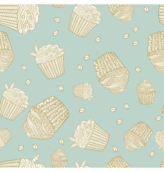Seamless pattern with muffins and coffee beans vector
