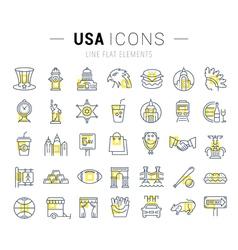 Set Flat Line Icons USA and America vector image