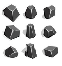 Set of coal ore or boulders isometric 2d game ui vector