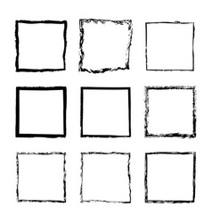 set of square frames drawn 2 vector image