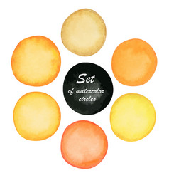 Set of yellow and orange paint watercolor circles vector