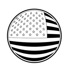 Shield in circular shape with flag united states vector