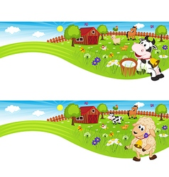 Two banners with farm animals in barnyard vector
