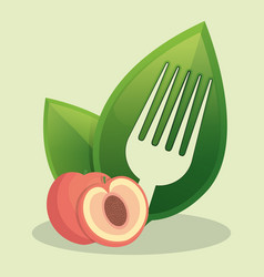vegan peach food fresh vector image