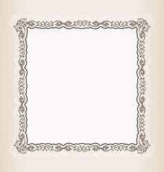 Vintage square frame retro pattern ornament vector