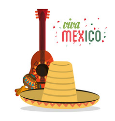 Viva mexico card lettering guitar hat maracas vector
