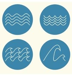 Wave icon set vector image vector image