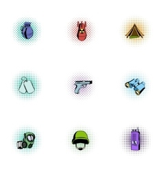Weapons icons set pop-art style vector