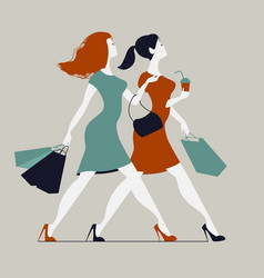 women with shopping bags two young fashionable vector image