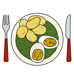 Spinach eggs and potatoes vector