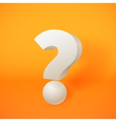 White 3d question mark on orange background vector