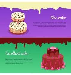Excellent cake and tasty cake flat banners vector