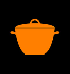 saucepan simple sign orange icon on black vector image