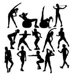 gym fitness and exercise silhouettes vector image