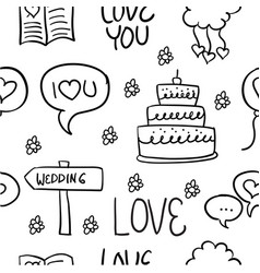 Collection stock of wedding hand draw doodles vector