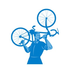Cyclist mechanic holding spanner and carry bicycle vector