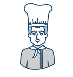 blue silhouette with half body of male chef vector image