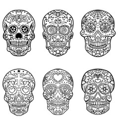 Set of hand drawn sugar skulls day of the dead vector