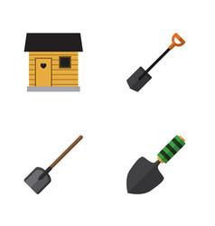 Flat icon garden set of shovel stabling trowel vector
