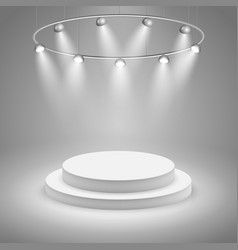 White stage with spotlight vector