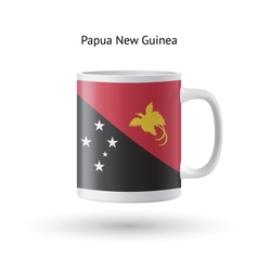 Papua new guinea flag souvenir mug on white vector