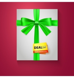 Gift box with green bow on red background Deal of vector image