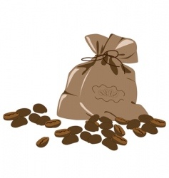 Coffee beans and bag vector