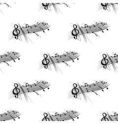 Music score and notes background seamless pattern vector image
