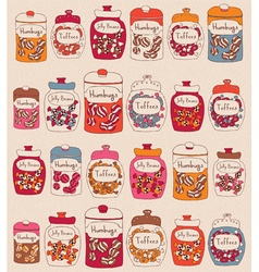 Candies in glass jars vector