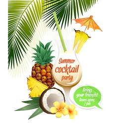 Beach tropical cocktail pina colada with garnish vector