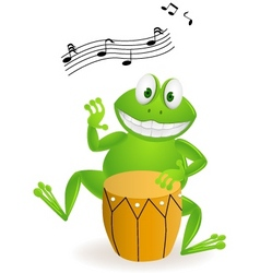 Frog playing drum vector