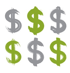 Set of hand-painted green dollar icons isolated on vector