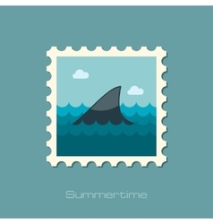 Shark fin flat stamp vector