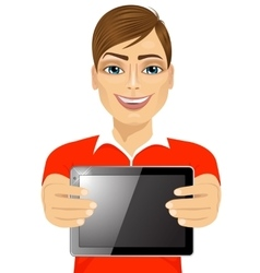 Young teenager boy displaying tablet vector