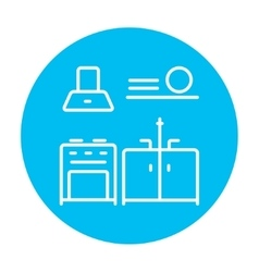 Kitchen interior line icon vector