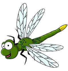 Funny green dragonfly cartoon vector