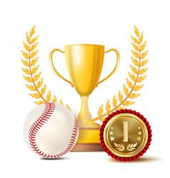 baseball achievement award sport banner vector image vector image