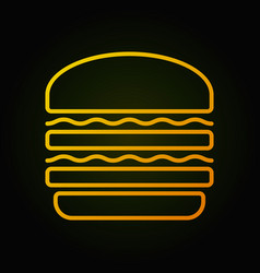 burger yellow icon fast food concept sign vector image vector image