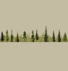 Cartoon background of green pine forests vector