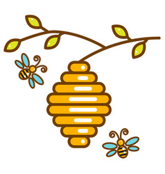 cute vespiary with bees line isolated icon vector image
