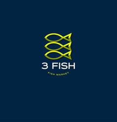 fish market logo seafood restaurant emblem vector image vector image