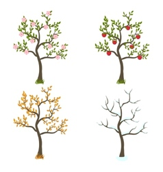 Four seasons trees art vector