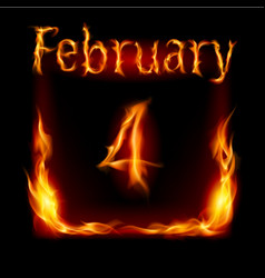 fourth february in calendar of fire icon on black vector image vector image
