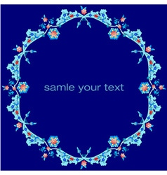 Frame with flowers of ottoman art three vector