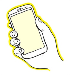 Hand holding smart phone vector