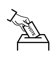 Hand putting a voting ballot vector
