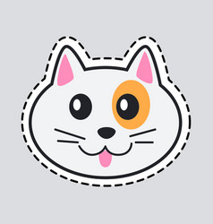 muzzle of cat cut it out icon of isolated animal vector image